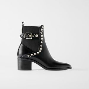 Zara ankle pearls boots